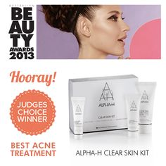 Alpha-H Clear Skin Kit: Judges Choice Winner for Best Acne Treatment in the Australian Beauty Awards 2013. Click here to find out more about it - http://www.facialcompany.com.au/Shop/file/Product/cat/161/pid/2157/brand/10/Alphah-Clear-Skin-Kit.htm