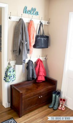 Don& have a mudroom or hall closet? Create an organized entryway and designate a drop zone to calm the clutter. Tutorial by The House of Wood. Entryway Organization, Organized Entryway, Entryway Ideas, Entrance Ideas, Entrance Hall, Hall Closet, Entry Closet, Entry Foyer, Front Entry