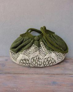 Mori Girl Bag, Good Old Times Vintage Doily, Knit fabric and crocheted Bag
