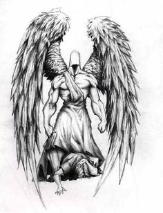 black and grey guardian angel wings design - Google Search