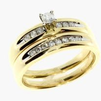 Set in 10k gold this bridal set features round white diamonds available in size 7. As with all orders a free gift and free shipping is included! Description Cut Round Color G-H Clarity I1-I3