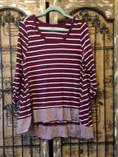 LOGO by Lori Goldstein Plum Color Striped Knit Top with Hi-Low Hem XL  #LoriGoldstein #KnitTop #Casual