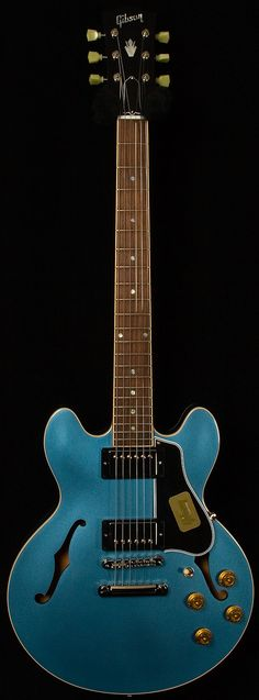 Gibson Custom Shop in Pelham Blue Jazz Guitar, Music Guitar, Cool Guitar, Blue Guitar, Semi Acoustic Guitar, Bass, Gibson Custom Shop, Archtop Guitar, Guitar Collection