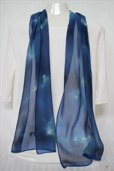 midnight blue breezy chiffon silk scarf with swirls of yellow and purple