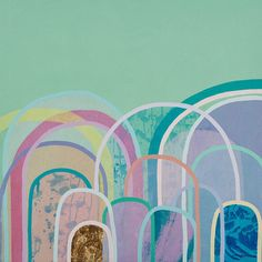 Little Hills in Mint & Gold - limited edition print