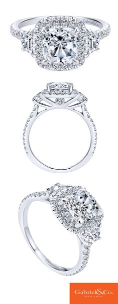 Every true love deserves a happily ever after, and it starts with the dream engagement ring. This gorgeous 14k white gold diamond contemporary halo engagement ring will make your true love say yes! Discover this perfect engagement ring or customize your own at Gabriel & Co.