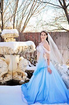 Winter Fantasy Blue Wedding Dress. Belly Dance Wedding. Blue Dress. Winter Wedding.