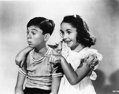 Elizabeth Taylor, and Carl 'Alfalfa' Switzer 1942
