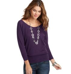 LOFT - U-Neck Dolman Sleeve Sweater - XL in Pure Purple, Bedrock Grey, Black