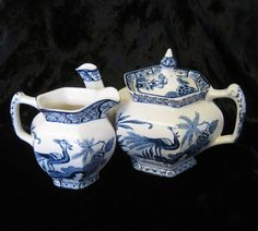 Antique Wood & Sons, Yuan 1-Cup Hexagonal Teapot and Creamer, Blue and White China, Bachelor Teapot and Cream Jug by TheWhistlingMan on Etsy