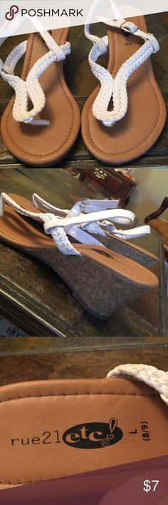 Rue 21 white wedge sandals! Super cute! Excellent condition! Barely worn! Rue 21 Shoes Wedges