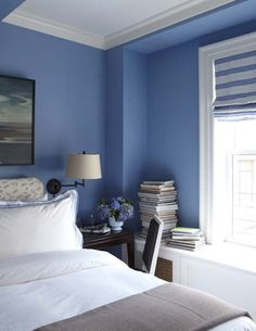 summery blue and white bedroom ~ Christopher Maya design
