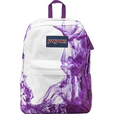 JanSport SuperBreak Backpack ($30) ❤ liked on Polyvore featuring bags, backpacks, backpack, accessories, purple, school & day hiking backpacks, white backpack, jansport backpack, strap backpack and jansport bags
