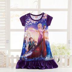 New 2016 summer Cinderella Anna Elsa princess Retail girl print dress brand children casual kids dress girl