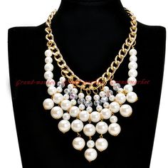 Hot Fashion Gold Chain White Pearl Crystal Collar Statement Pendant Bib Necklace