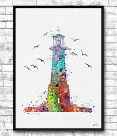 Instant Digital Download Lighthouse Watercolor Print Nautical Painting Bathroom Decor Beach Art Rainbow Lighthouse Nautical Poster Nursery Room Ocean