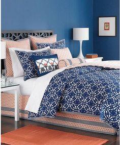 Martha Stewart Ringtrace Navy 6 Piece Queen Comforter Set