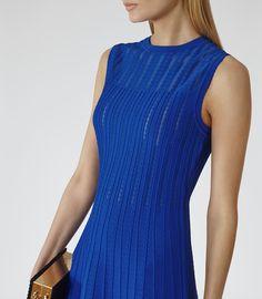 Womens Jewel Blue Sheer-stripe Dress - Reiss Kama