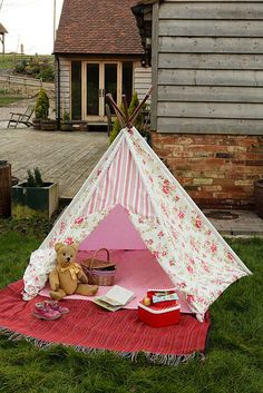 Shabby Chic Wigwam, Teepee by Faerie Nuff, via Flickr ~ Shabby Chic Wigwam, Teepee ~ I love this gorgeous floral teepee, so cute for girls!