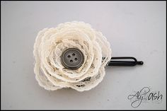 DIY tutorial on how to make this lace flower. I'm considering making these for the guys boutonnieres in my wedding.