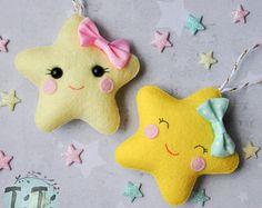 Adornos navideños fieltro estrellas, adornos, fieltro adornos de invierno, Navidad decoración árbol de Navidad, decoración Navidad, estrellas de fieltro