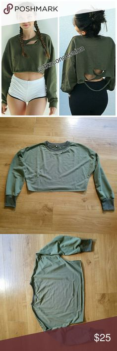 Crop Distressed Sweatshirt Brand new never worn. Item is not brand listed. PINK Victoria's Secret Tops Sweatshirts & Hoodies