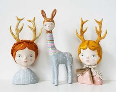 Quirky animal sculpture Paper clay art figuine by sweetbestiary. £150.00, via Etsy.