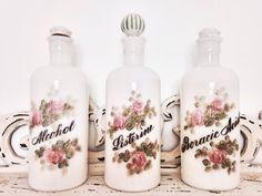 Milk Glass Apothecary Jars Set / Antique by handpickedtreasures8