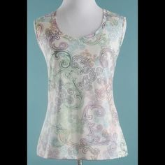 NEW YORK AND COMPANY Pastel Pink Green Top Size M NEW YORK AND COMPANY Pastel Pink Green Stretch Top Size Medium New York & Company Tops