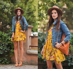 Viktoriya Sener - Sheinside Jacket, Sheinside Dress, Santeshoes Sandals, Zara Hat, Lorena Backpack - YELLOW MONDAY | LOOKBOOK