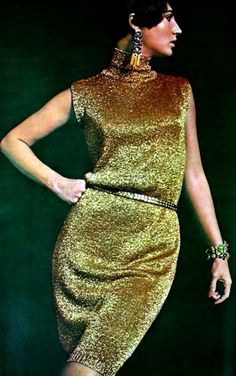 Model wearing a gold, sleeveless party dress for Marie Claire France, December 1965