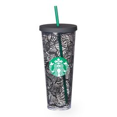 A sturdy, Venti-size clear plastic Cold Cup with double wall construction, black line design and reusable straw.