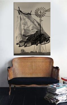 Beautiful vignette with old settee, and art piece by Jane Littleton Jones