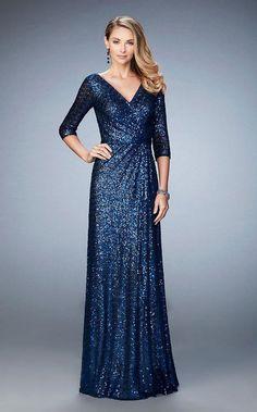 La Femme - 21900 Sequined V-Neck A-Line Dress – Couture Candy