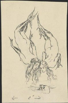 Norman Lindsay: Two Mermaids Looking for a Skull