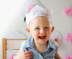 Make a Lace Crown! Learn how to make this easy quick and super cute lace crown for your next party photo shoot or cake smash! Lace Crowns, Diy Crown, Party Photos, Diy Accessories, Diy Crafts For Kids, Diy Tutorial, Activities For Kids, Super Cute, Photoshoot