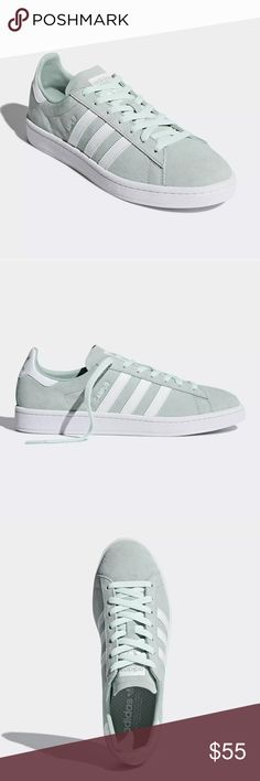 d3ba6933a87 My Posh Closet · Adidas Campus Suede Shoes Mint Ash Green White These shoes  flash an upper made of pigskin