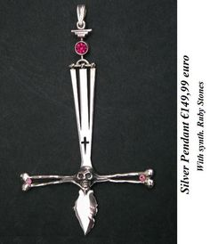 Silver Devil cross with red stones
