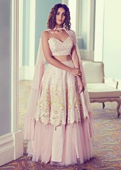 Powder Pink Lehenga Choli In Raw Silk With Fancy Hem And Net Under layer Online - Kalki Fashion Wedding Dresses For Girls, Indian Wedding Outfits, Indian Outfits, Indian Clothes, Indian Designer Outfits, Designer Dresses, Indian Designers, Fashion Designers, Pink Lehenga