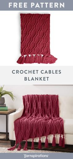 Yarnspirations is the spot to find countless free intermediate crochet patterns, including the Caron Crochet Cables Blanket. Quick Crochet, Crochet Home, Knit Or Crochet, Free Crochet, Crochet Cable Stitch, Crochet Afgans, Crochet Hook Sizes, Afghan Crochet Patterns, Knitted Blankets