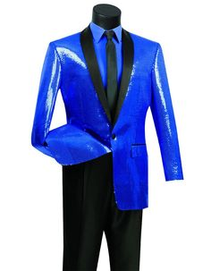 This sequin tuxedo blazer is a stunner. It features a single button, black satin shawl lapel, and shiny sequins all throughout the jacket. You'll be the hit of the party or prom wearing this one. #BlueJacket #WeddingJacket #PromTux #WeddingTux #Tux #Wedding #Prom #DinnerJacket #Jacket Wedding Tux, Wedding Jacket, Mens Dinner Jacket, Prom Tux, Sequin Fabric, Sport Coat, Black Satin, Tuxedo, Mens Suits
