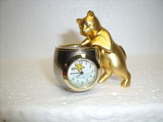 Elgin Collectable Mini Clock Kitten/Cat with Fish Bowl, moving fish second hand