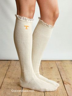 Lacey Fan UNIVERSITY OF TENNESSEE Boot Socks cable knit boot sock with lace and school logo - Collegiate boot socks (Item no.12-13)