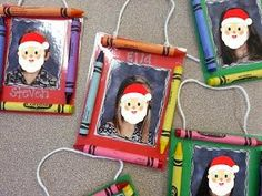 Cute picture frame ornament with kids pictures inside - not Santa faces