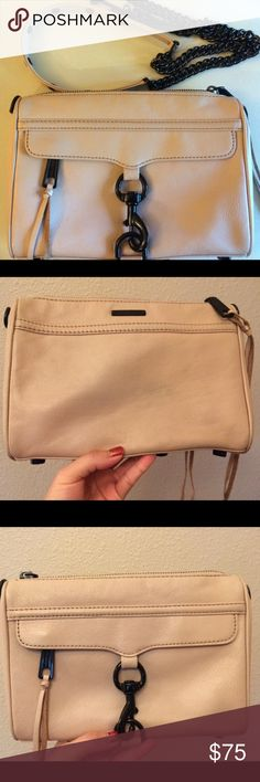 Rebecca Minkoff Mini MAC Slightly used crossbody! Beige/cream color with black hardware- rare color combo and hard to find. Some scuffs on the corners, some discoloration on the back (from my jeans), some marks underneath the flap however not observable at all when worn, and hardware has some scratches. Other than those flaws, it's clean inside/ outside without any major stains. No rips/ tears/ or holes. Can be used as clutch or crossbody. No trades. Does not come with dust bag. Rebecca…