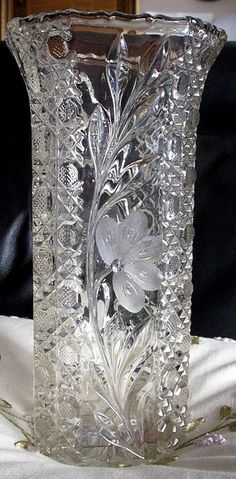 Antique Etched Cut Crystal Flower Pattern vase