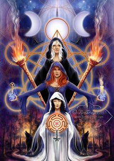 "Magick Wicca Witch Witchcraft: "" ~ Triple Goddess,"" by Kim Dreyer. goddess of magic Hecate Greek fairy Hecate Goddess, Goddess Art, Celtic Goddess, Maiden Mother Crone, Religion, Pagan Art, Triple Goddess, Sacred Feminine, Mystique"