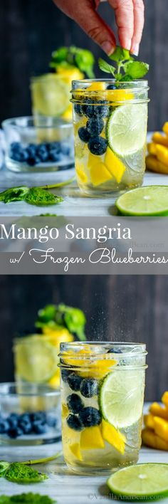 Mango Sangria with Frozen Blueberries