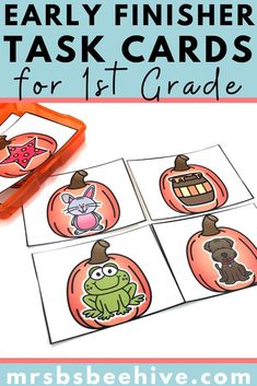 Give your students early finisher activities that are engaging and educational.  These task cards are meant to be done independently to help free up your teacher time for those students who need assistance!Help students increase rhyming word recognition with these kindergarten task cards. Early Finishers Activities, Number Recognition, Rhyming Words, Your Teacher, Kindergarten Classroom, Task Cards, Math Centers, Grade 1, Phonics