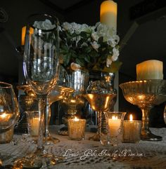 Lynne's Gifts From the Heart: ~Winter Mercury and Ice Tablescape Ready to get my bling on with some mercury glass.